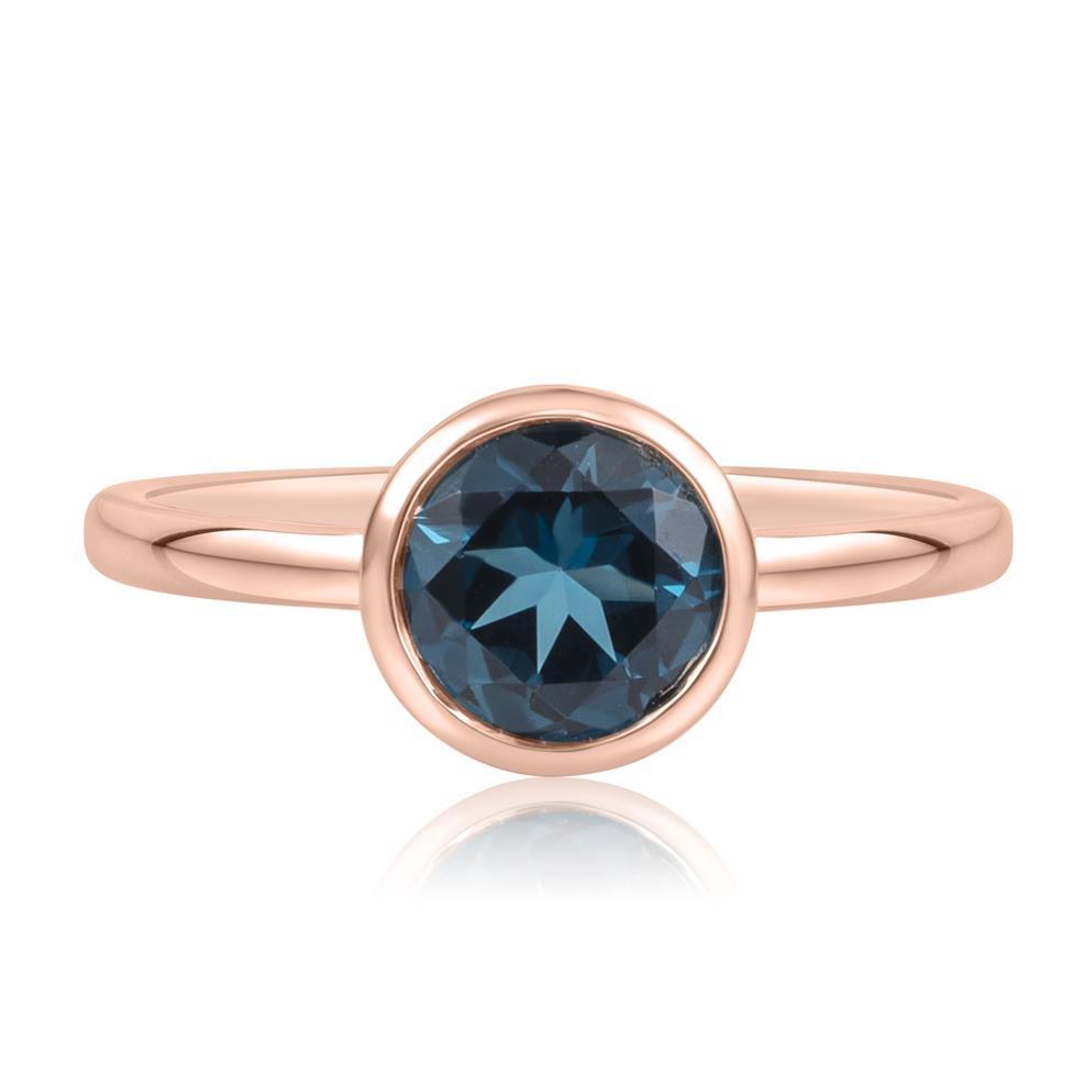 18ct Rose Gold London Blue Topaz Rubover Dress Ring Thumbnail Image 2