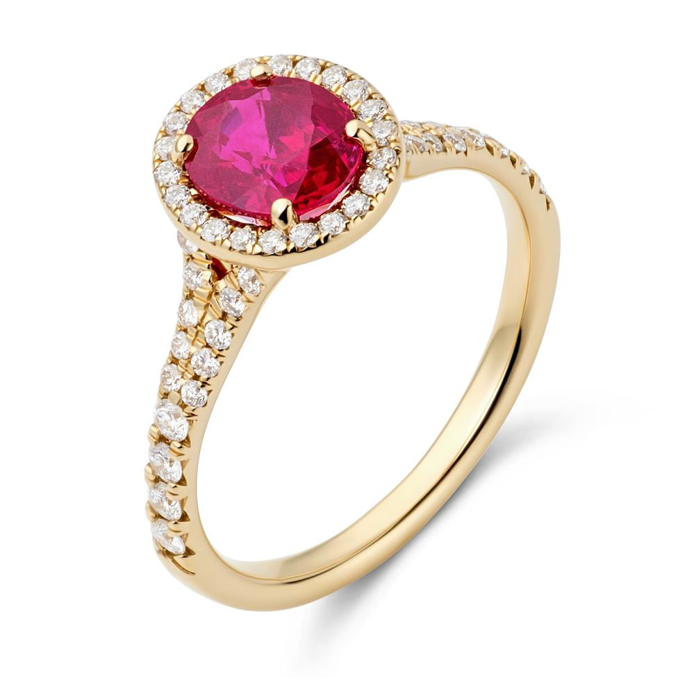 18ct Yellow Gold Oval Ruby and Diamond Halo Dress Ring Thumbnail Image 0