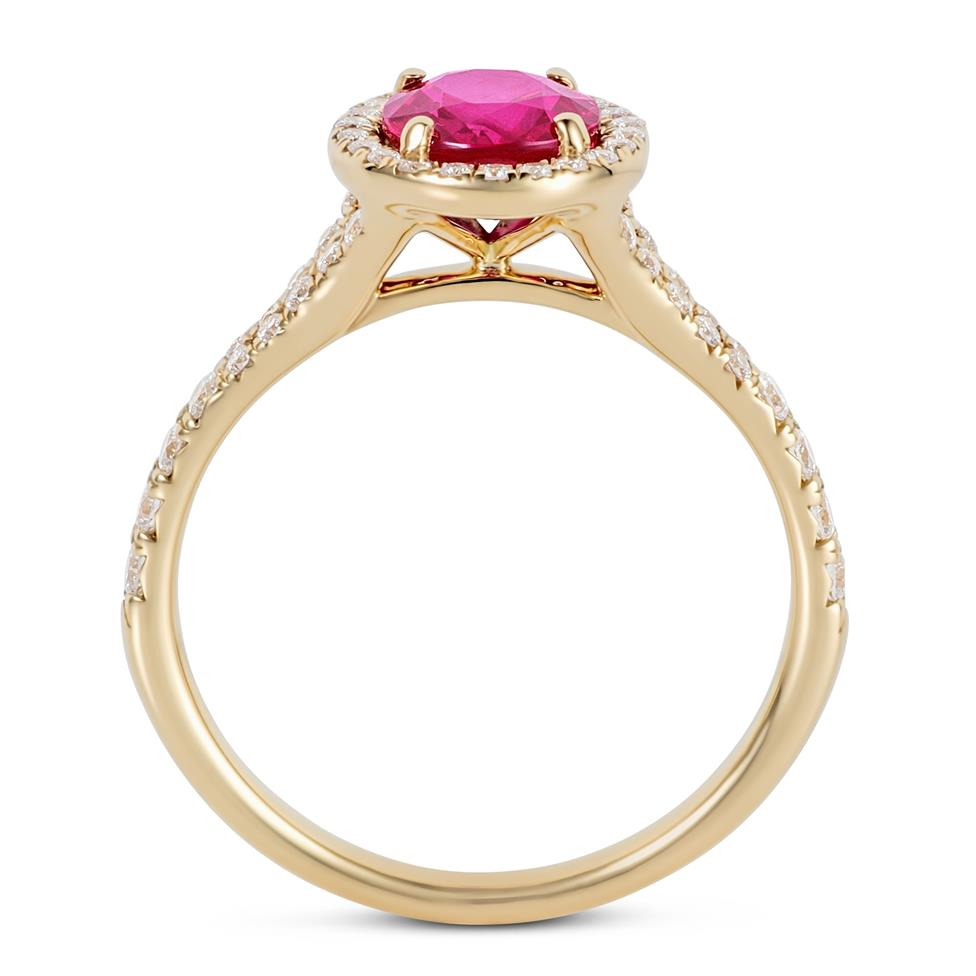 18ct Yellow Gold Oval Ruby and Diamond Halo Dress Ring Thumbnail Image 2