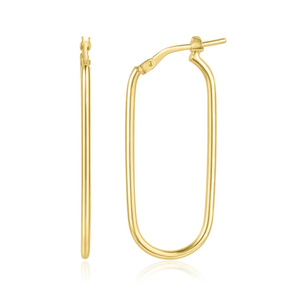 18ct Yellow Gold Oval Hoop Earrings 35mm Thumbnail Image 0