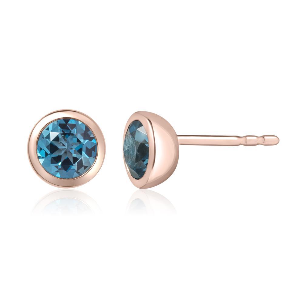 18ct Rose Gold London Blue Topaz Rubover Stud Earrings Thumbnail Image 0