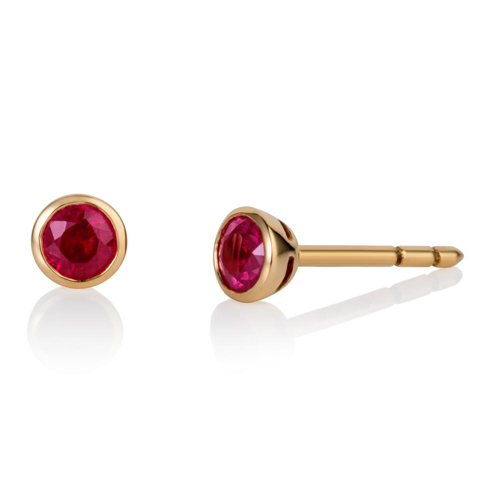 18ct Yellow Gold Ruby Solitaire Earrings Thumbnail Image 0