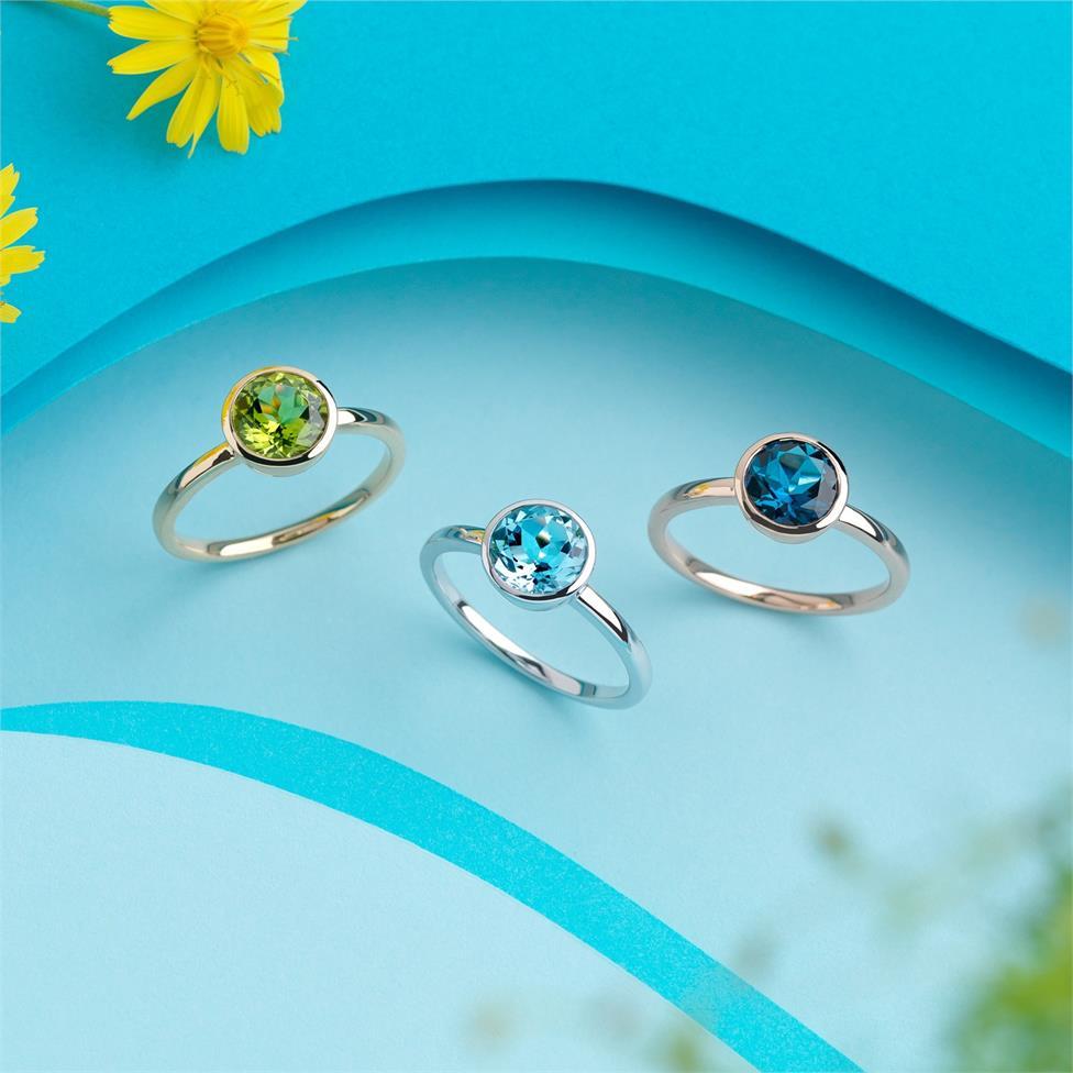 18ct Rose Gold London Blue Topaz Rubover Dress Ring Thumbnail Image 1