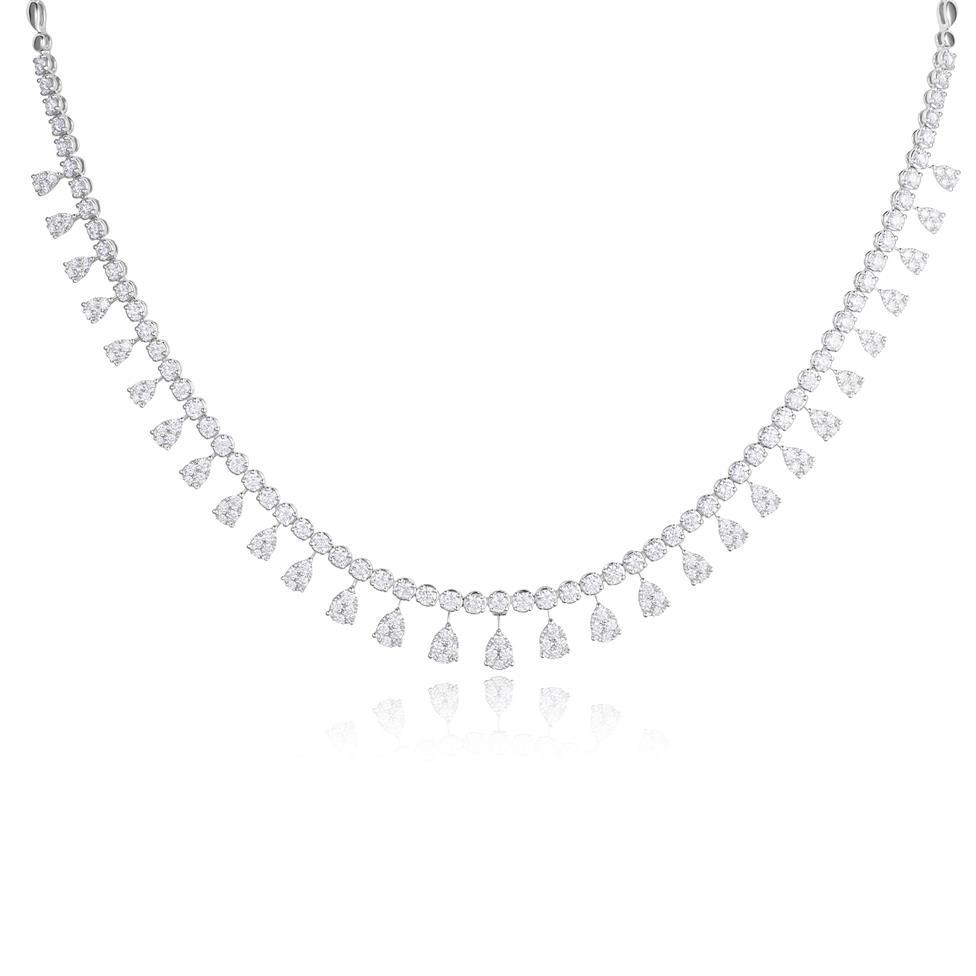 18ct White Gold Illusion Detail Diamond Necklace 4.87ct Thumbnail Image 0
