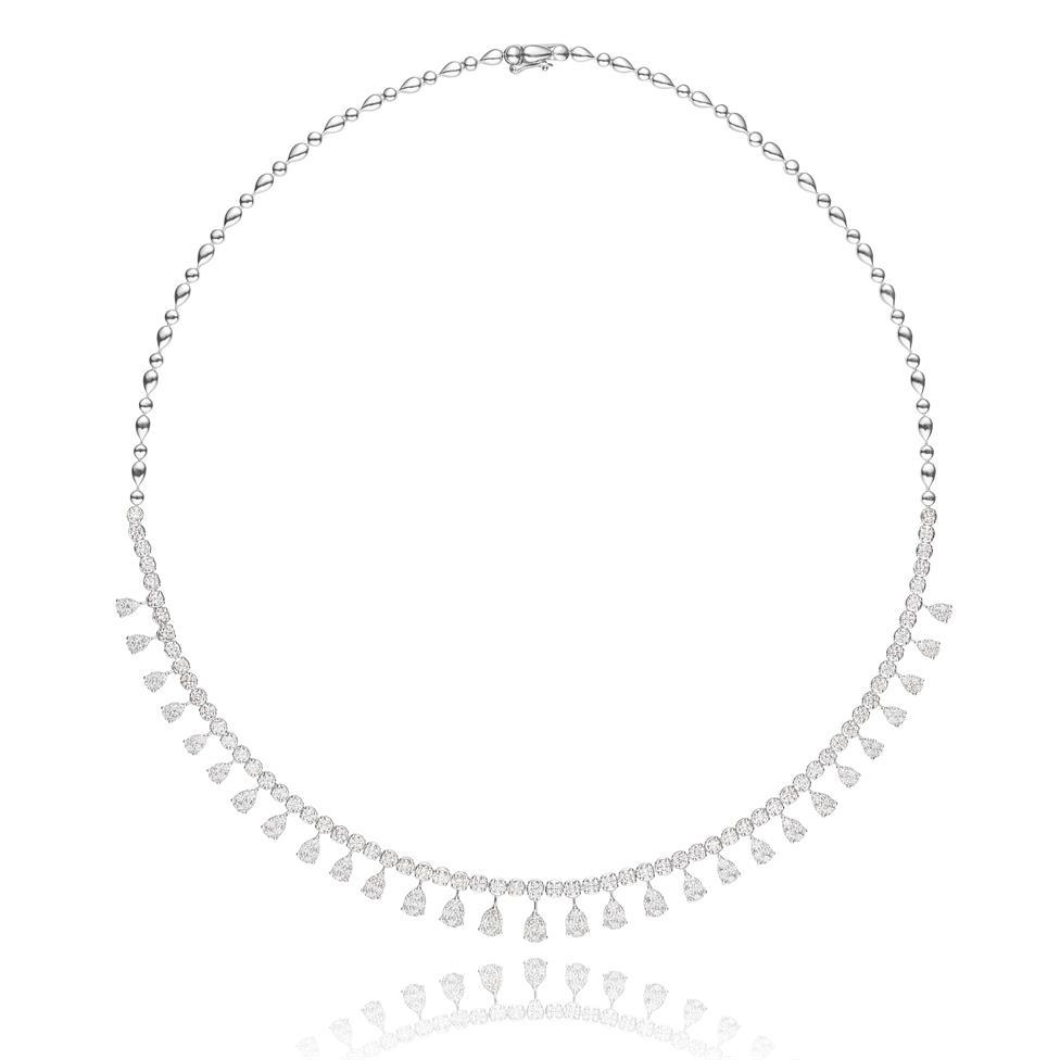 18ct White Gold Illusion Detail Diamond Necklace 4.87ct Thumbnail Image 2