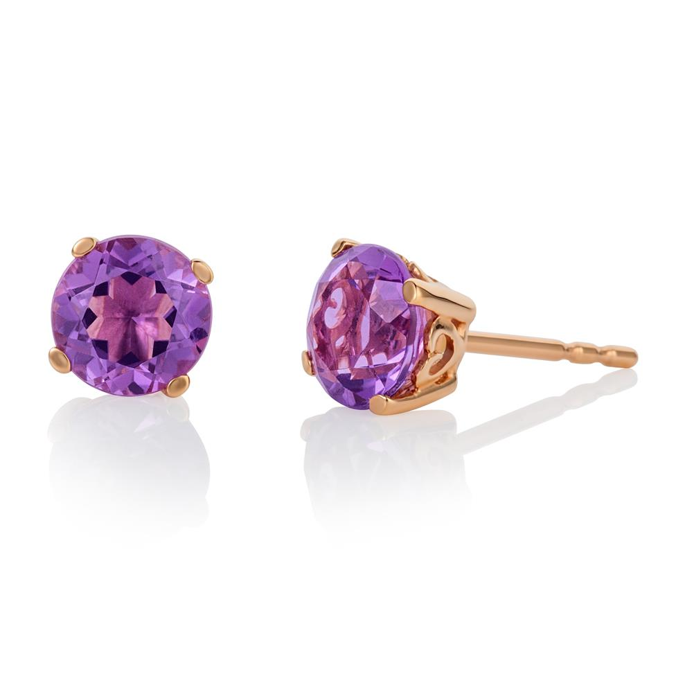 18ct Rose Gold Amethyst Solitaire Stud Earrings Thumbnail Image 0