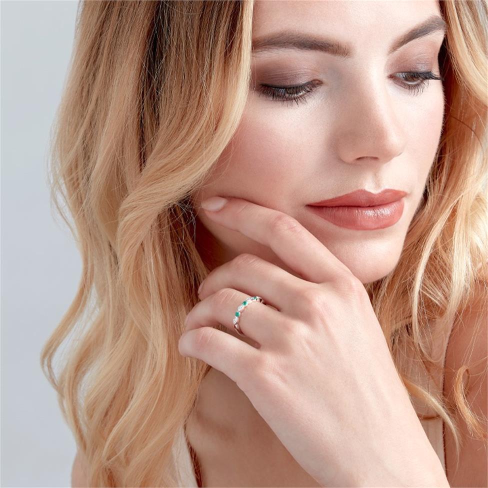 18ct White Gold Milgrain Detail Emerald and Diamond Half Eternity Ring Thumbnail Image 1
