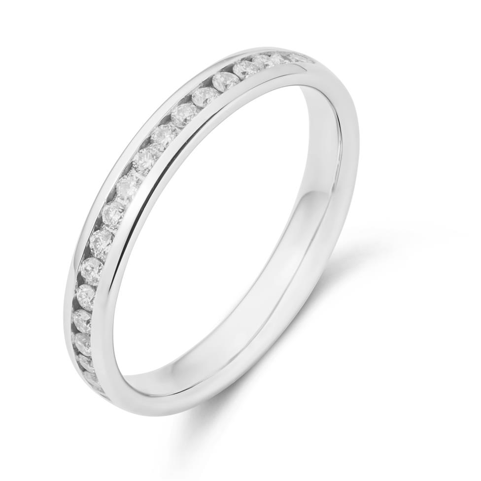 Platinum Diamond Court Shape Eternity Ring Thumbnail Image 0