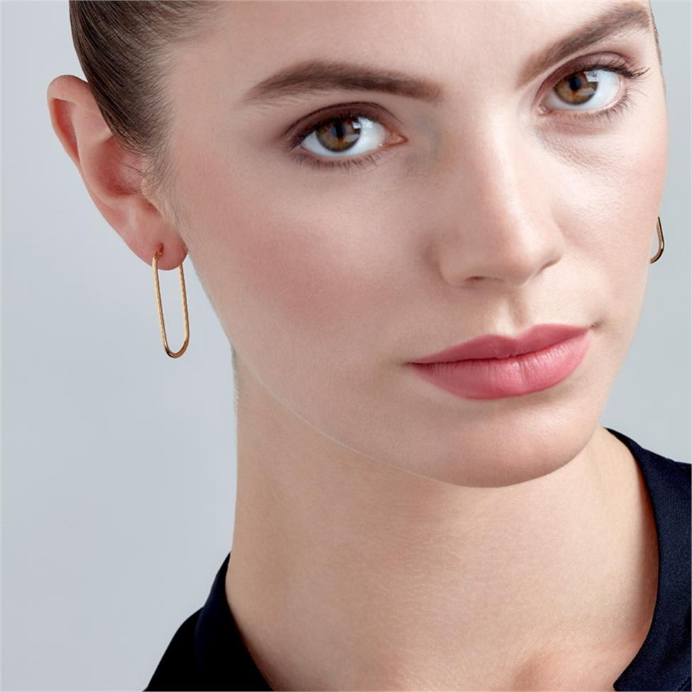 18ct Yellow Gold Oval Hoop Earrings 35mm Thumbnail Image 1