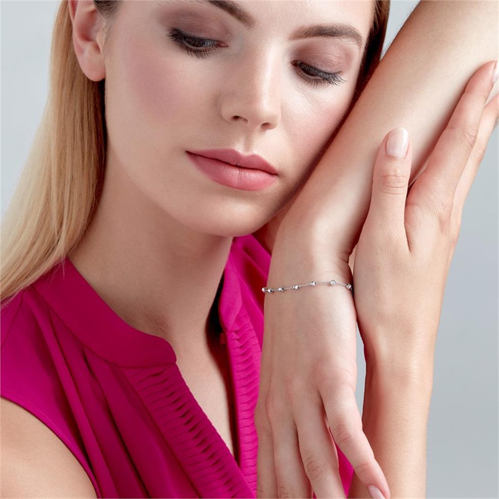 18ct White Gold Faceted Bead Detail Station Bracelet  Thumbnail Image 1