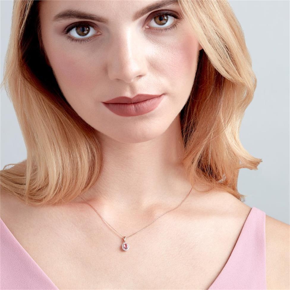 18ct Rose Gold Morganite and Diamond Halo Pendant Thumbnail Image 1