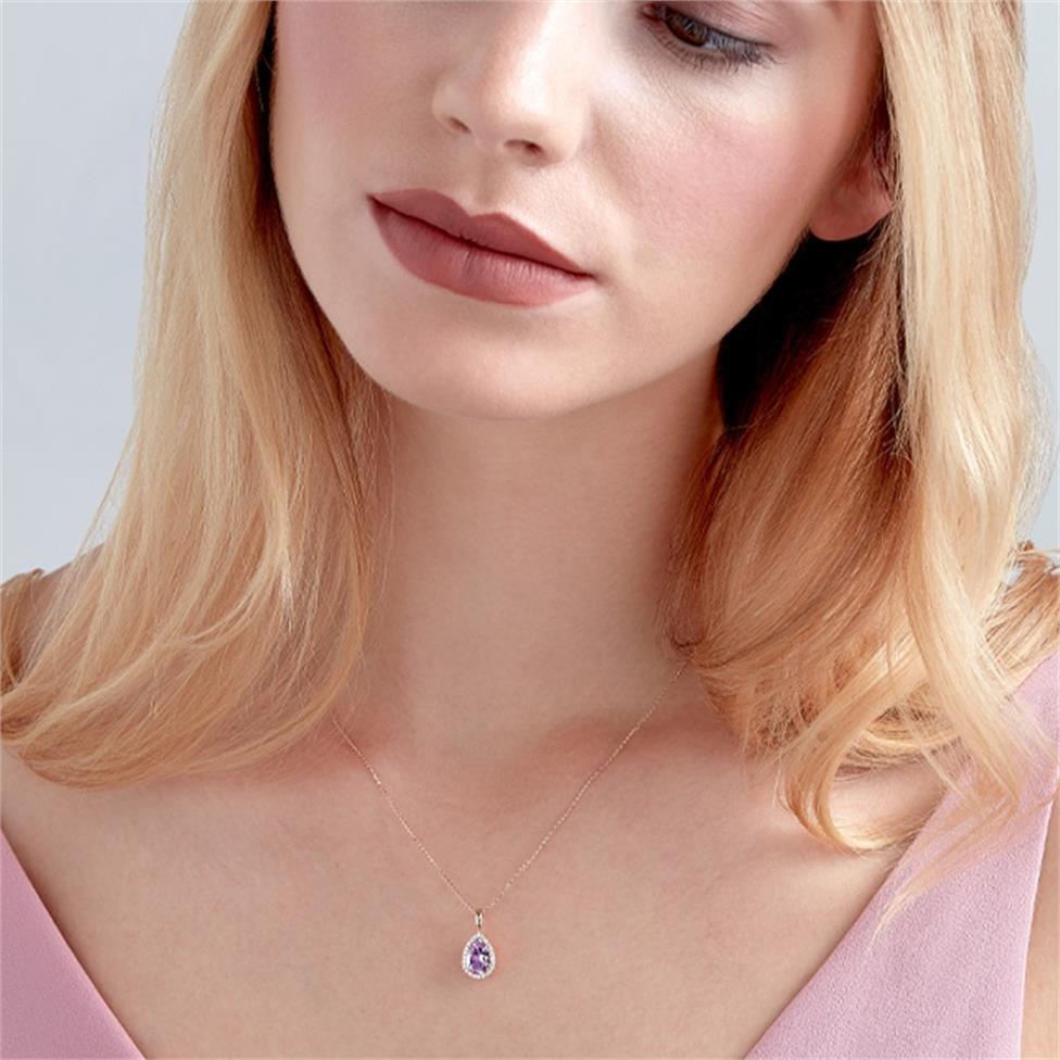 18ct Rose Gold Pear Shape Amethyst and Diamond Halo Pendant Thumbnail Image 1