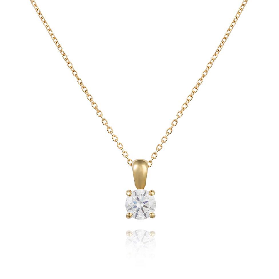 18ct Yellow Gold Classic Design Diamond Solitaire Pendant 0.50ct  Thumbnail Image 0
