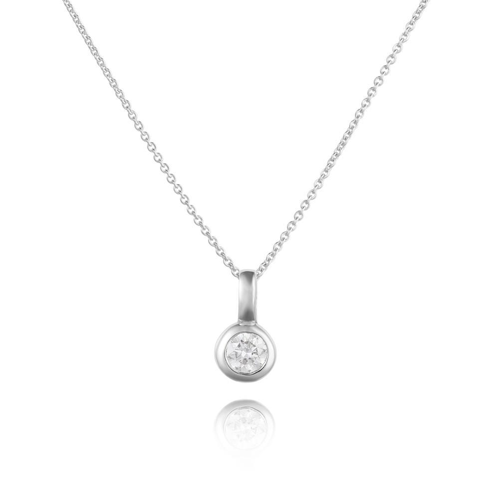 18ct White Gold Diamond Solitaire Pendant 0.16ct Thumbnail Image 0