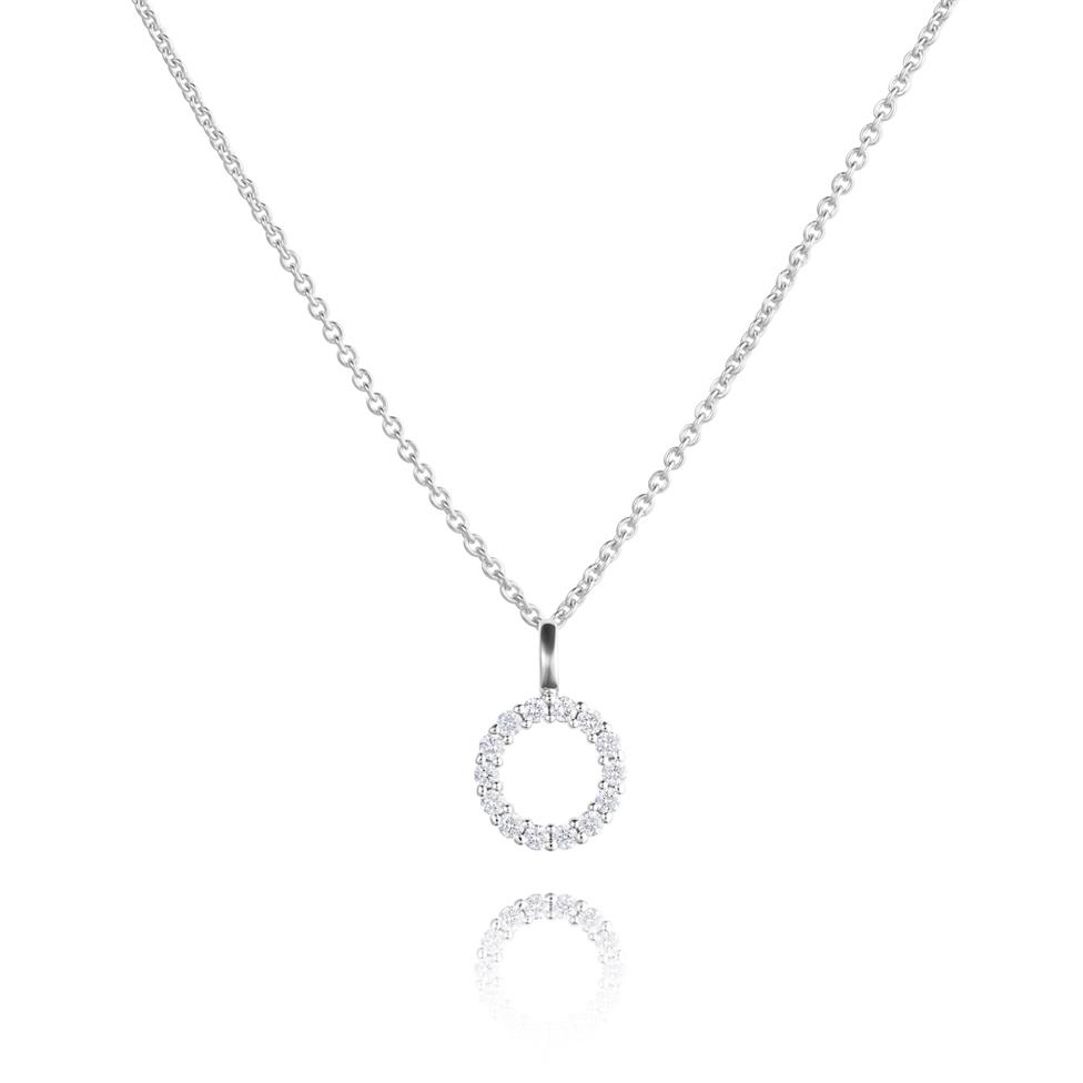 18ct White Gold Circle Design Diamond Pendant - Small 0.18ct Thumbnail Image 0