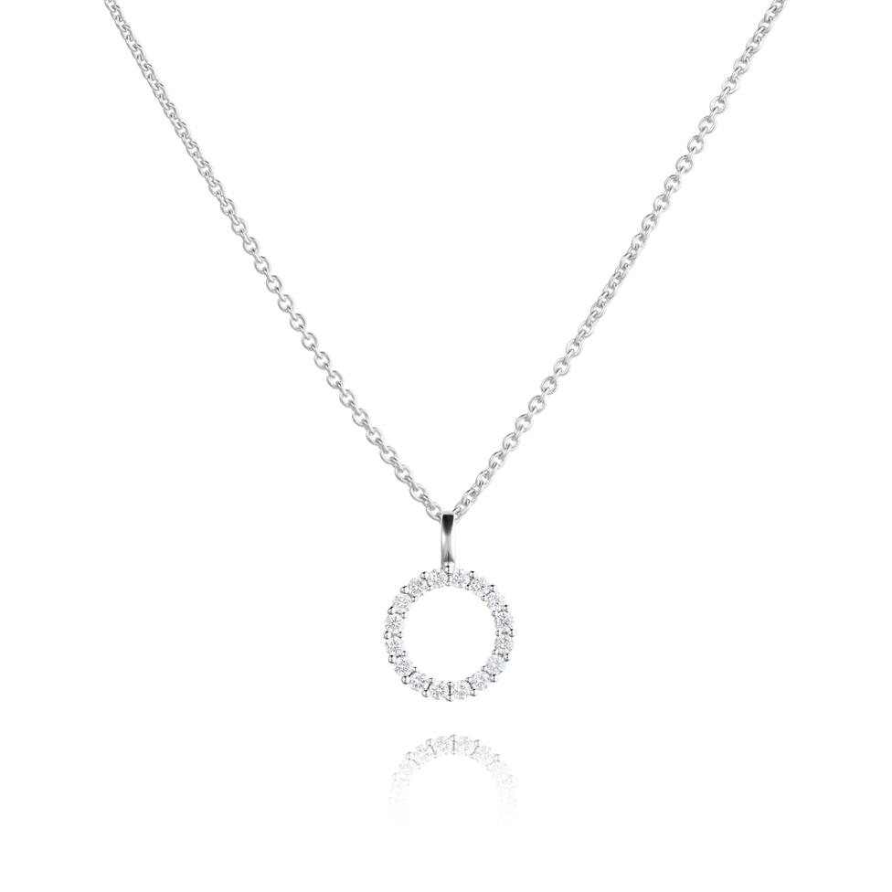 18ct White Gold Circle Design Diamond Pendant - Medium 0.26ct Thumbnail Image 0