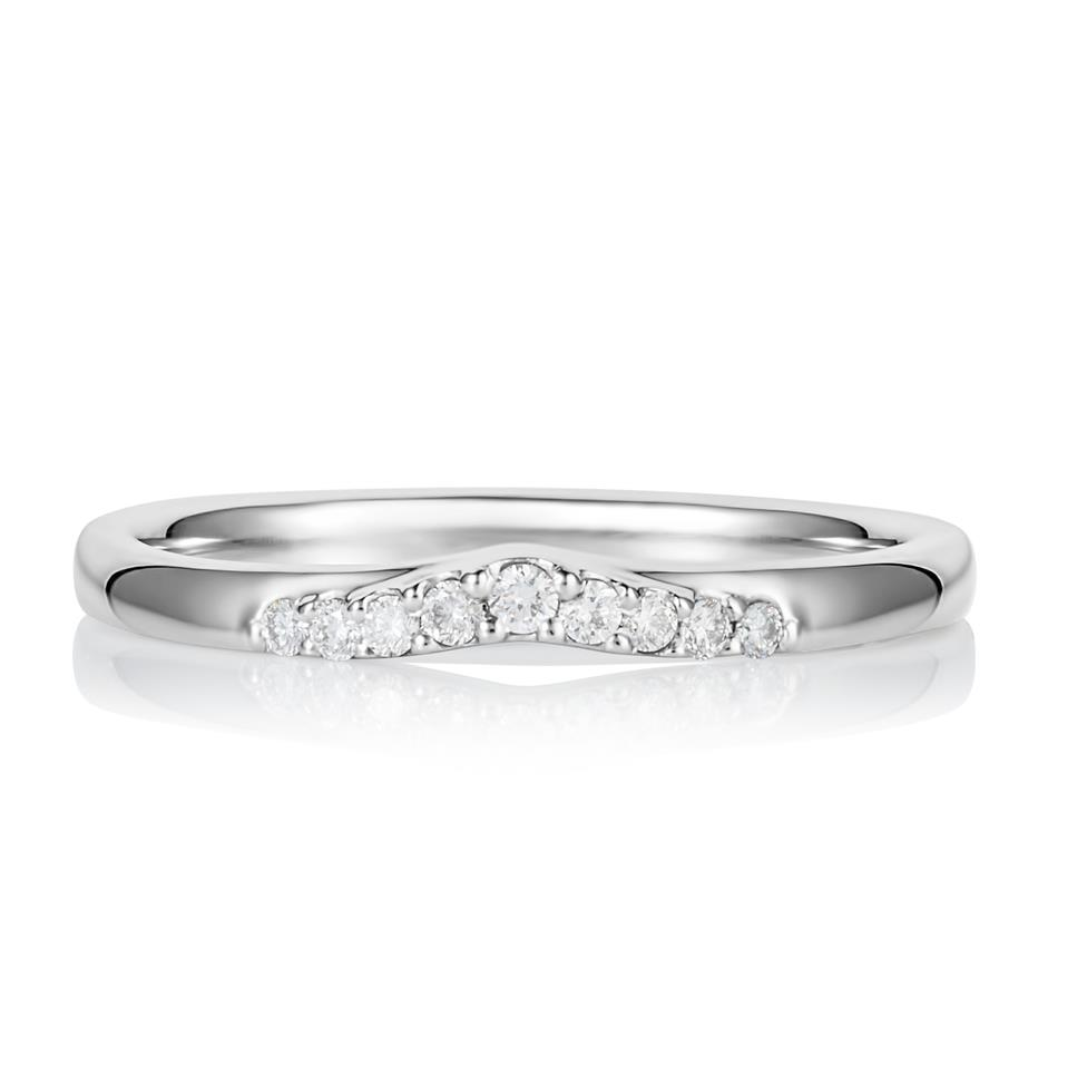 Platinum Diamond Set Shaped Wedding Ring 0.15ct Thumbnail Image 1