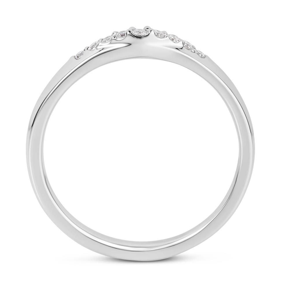 Platinum Diamond Set Shaped Wedding Ring 0.15ct Thumbnail Image 2