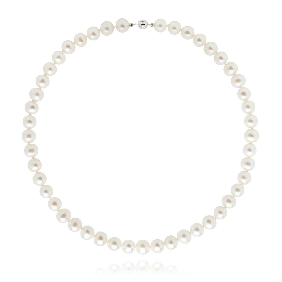 18ct White Gold Classic Freshwater Pearl Necklace  45cm Image 1