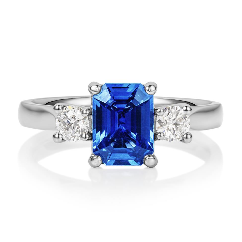 Platinum Emerald Cut Sapphire and Diamond Three Stone Engagement Ring Thumbnail Image 1