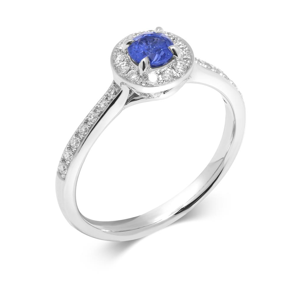 Camellia 18ct White Gold Sapphire Halo Ring Thumbnail Image 0