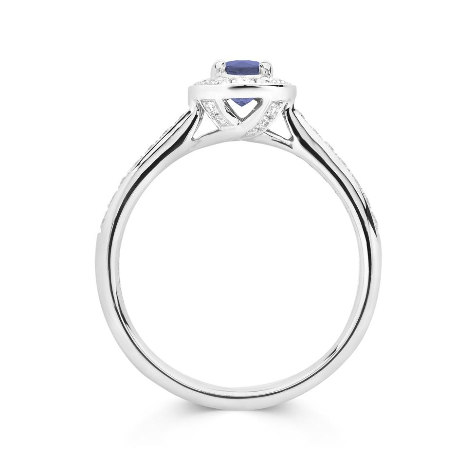 Camellia 18ct White Gold Sapphire Halo Ring Thumbnail Image 1