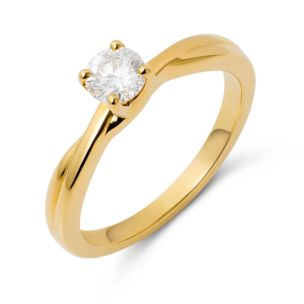 18ct Yellow Gold Plaited Shoulder Diamond Solitaire Engagement Ring 0.35ct Thumbnail Image 0