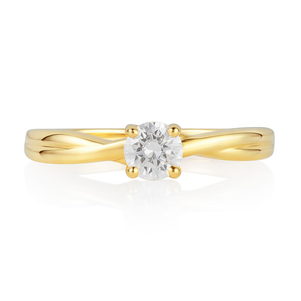 18ct Yellow Gold Plaited Shoulder Diamond Solitaire Engagement Ring 0.35ct Thumbnail Image 2
