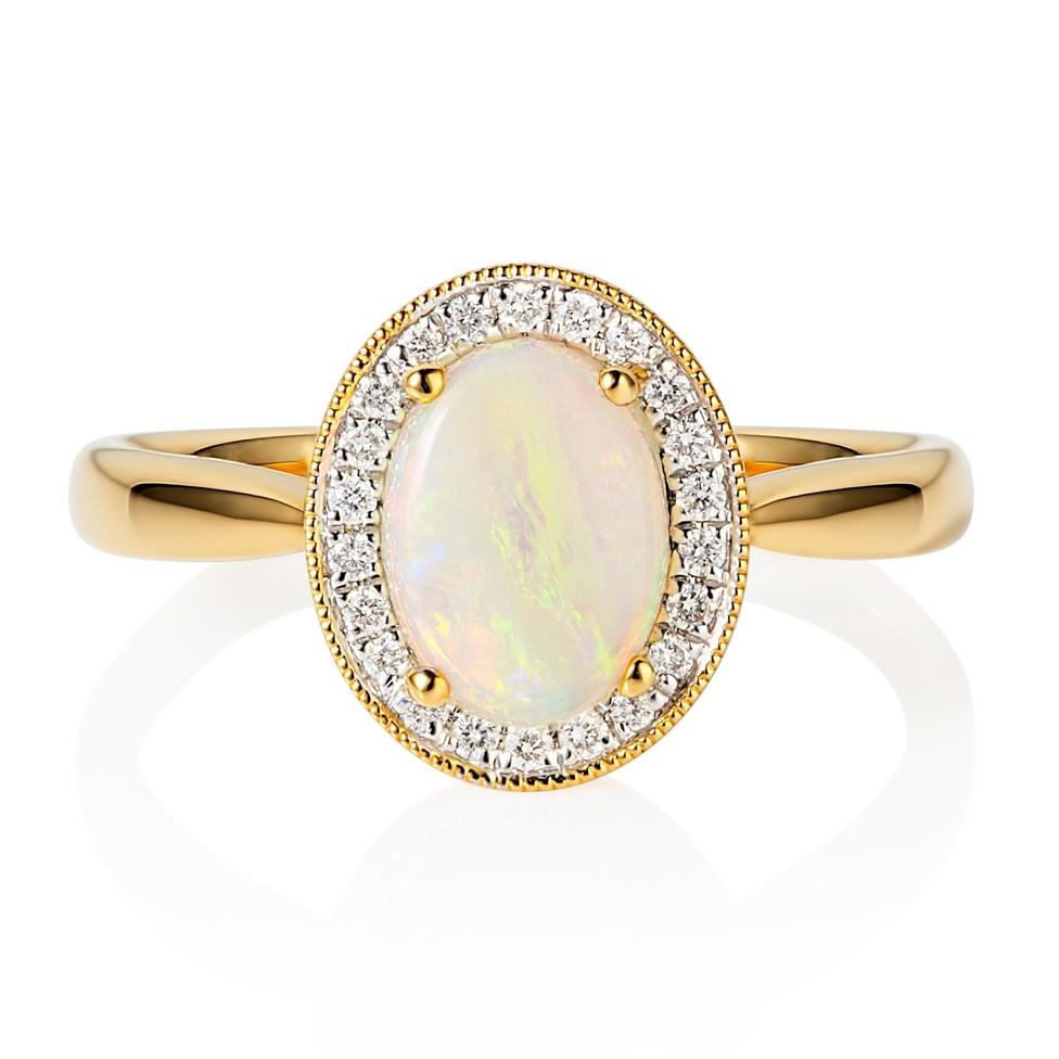 18ct Yellow Gold Opal and Diamond Halo Dress Ring Thumbnail Image 1