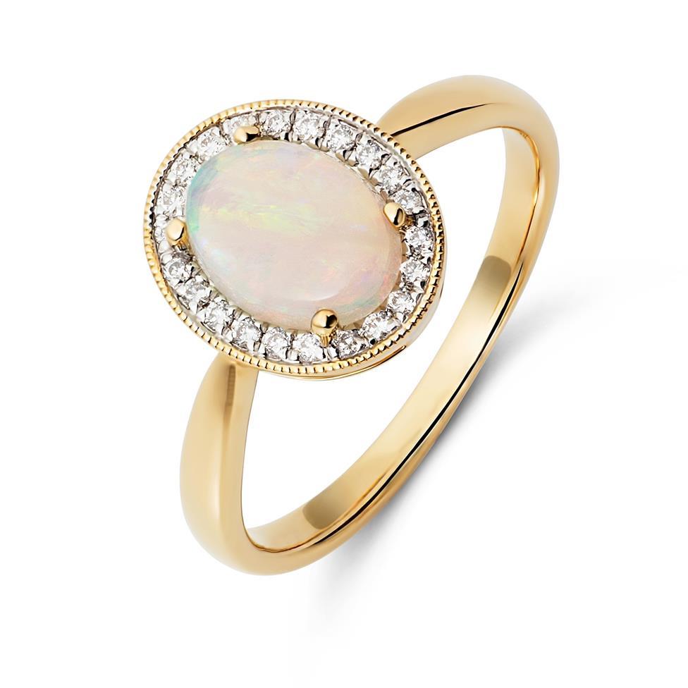18ct Yellow Gold Opal and Diamond Halo Dress Ring Thumbnail Image 0