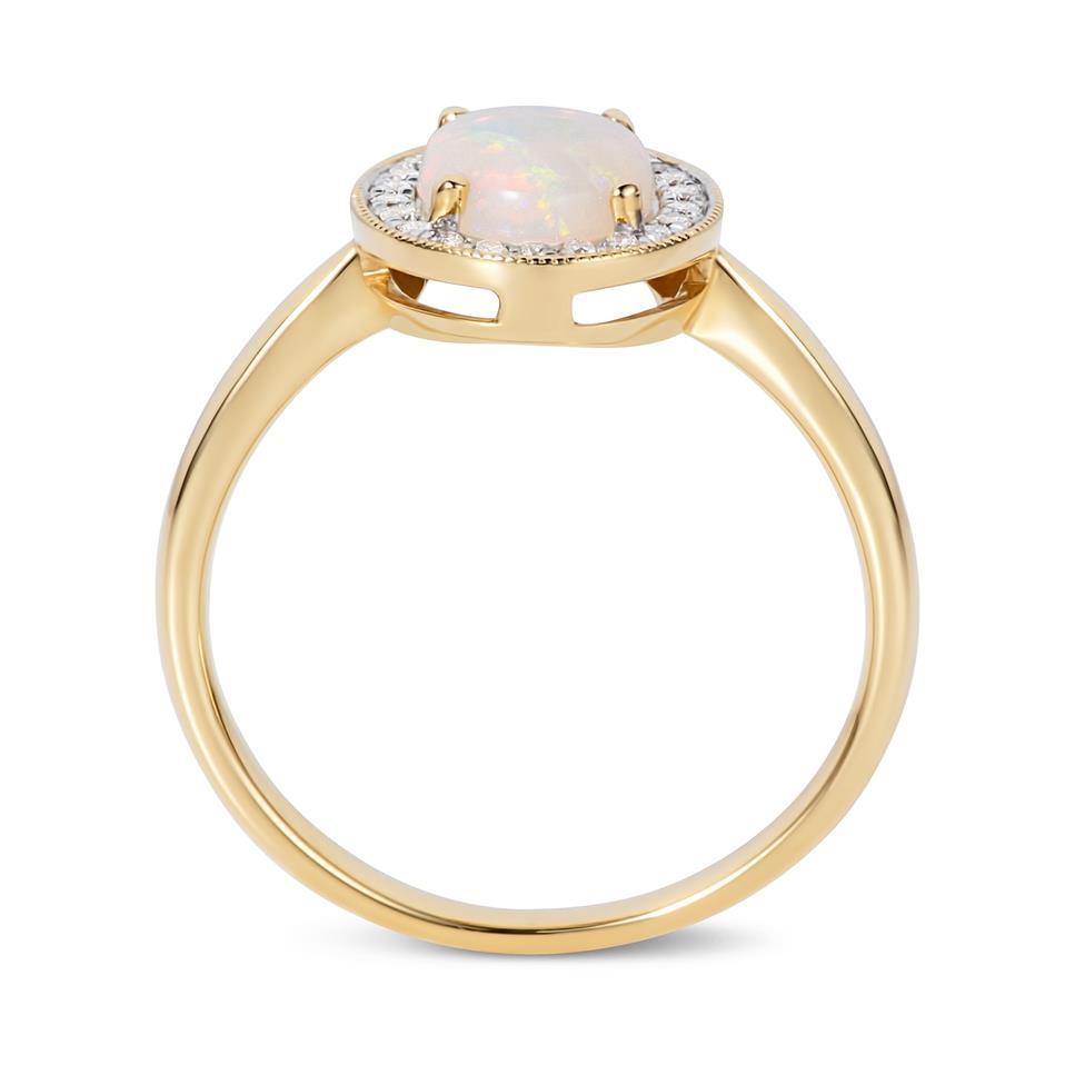18ct Yellow Gold Opal and Diamond Halo Dress Ring Thumbnail Image 2