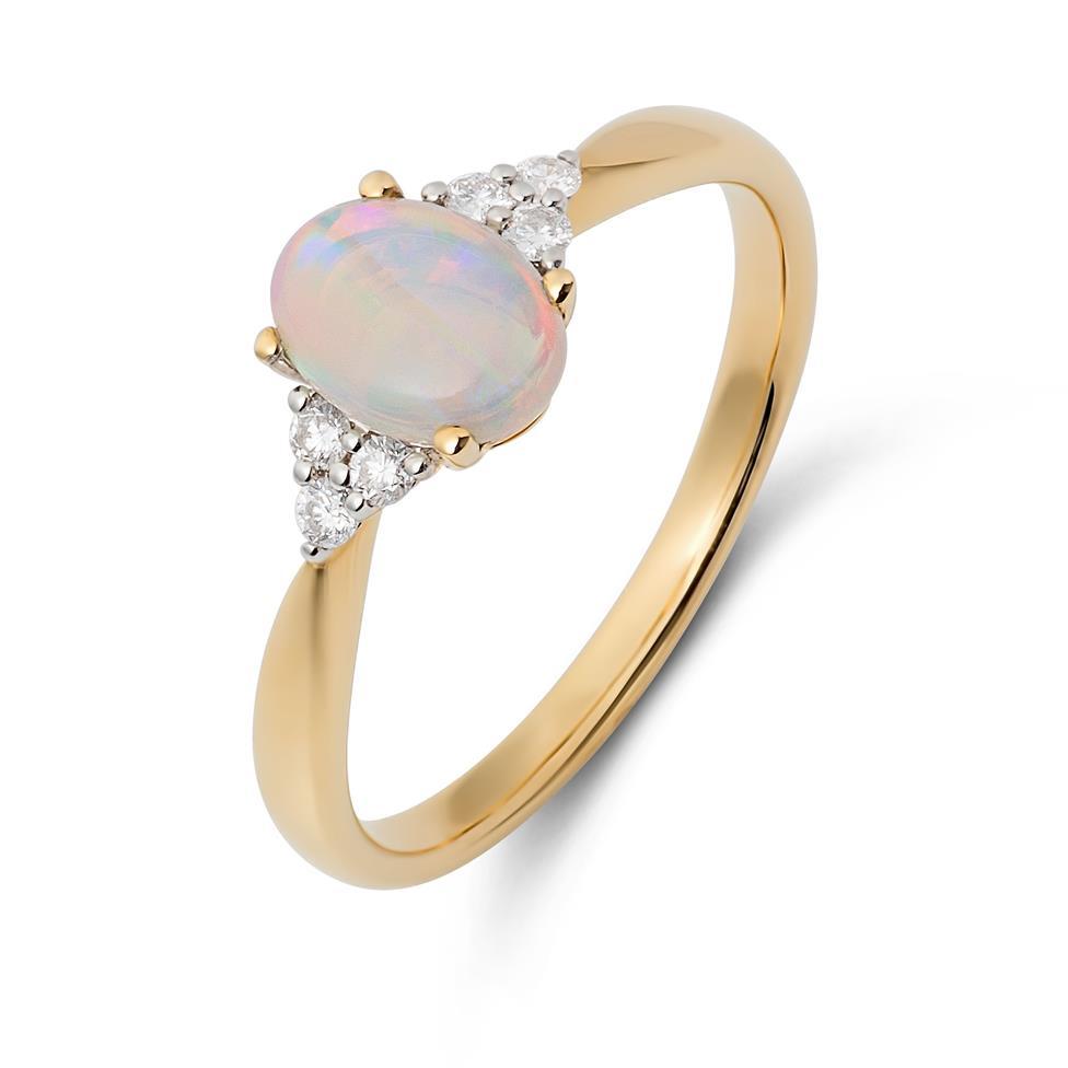 18ct Yellow Gold Opal and Diamond Dress Ring Thumbnail Image 0