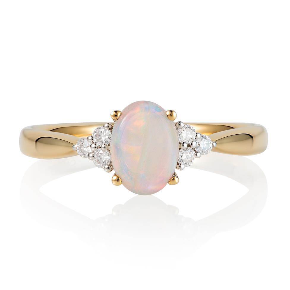 18ct Yellow Gold Opal and Diamond Dress Ring Thumbnail Image 1