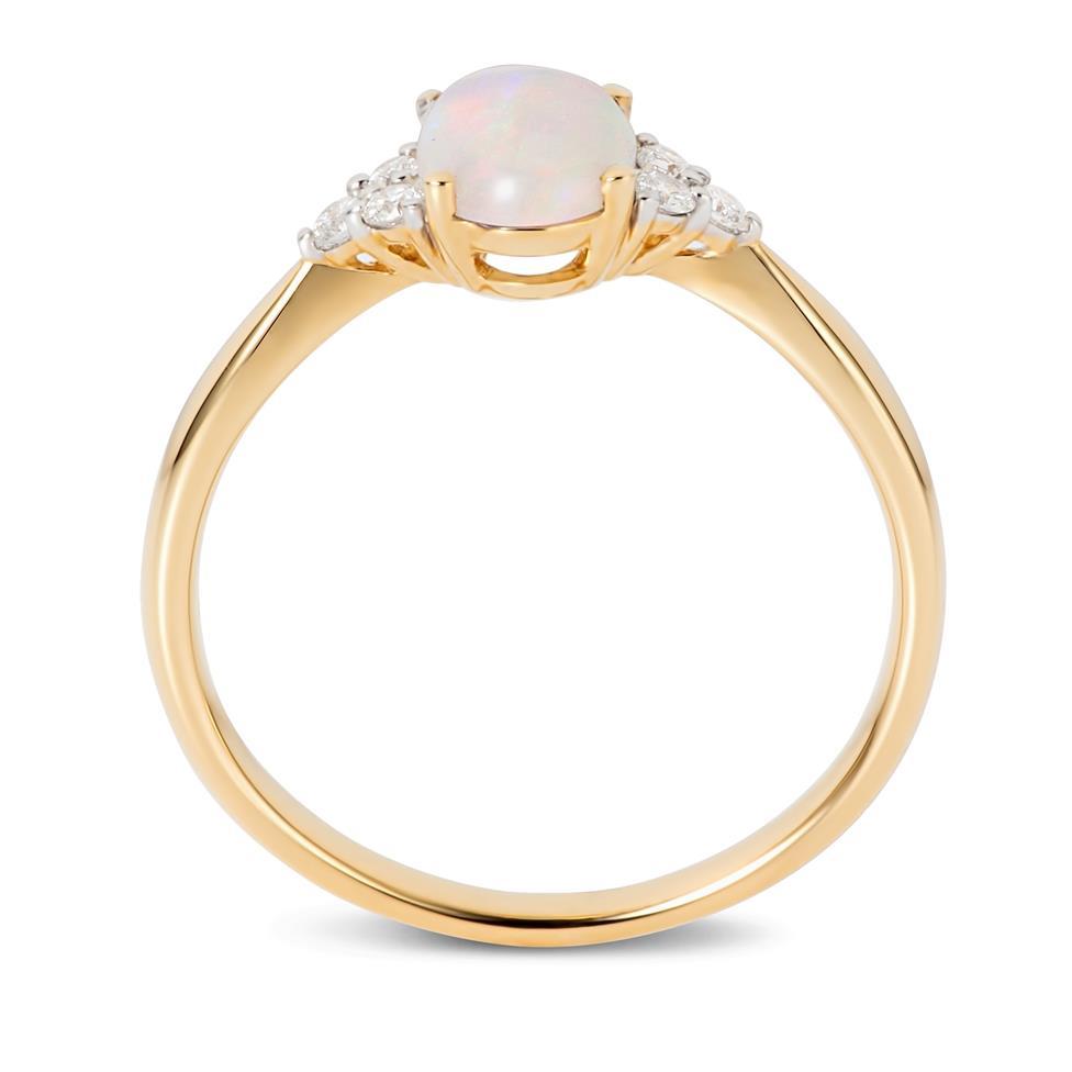 18ct Yellow Gold Opal and Diamond Dress Ring Thumbnail Image 2