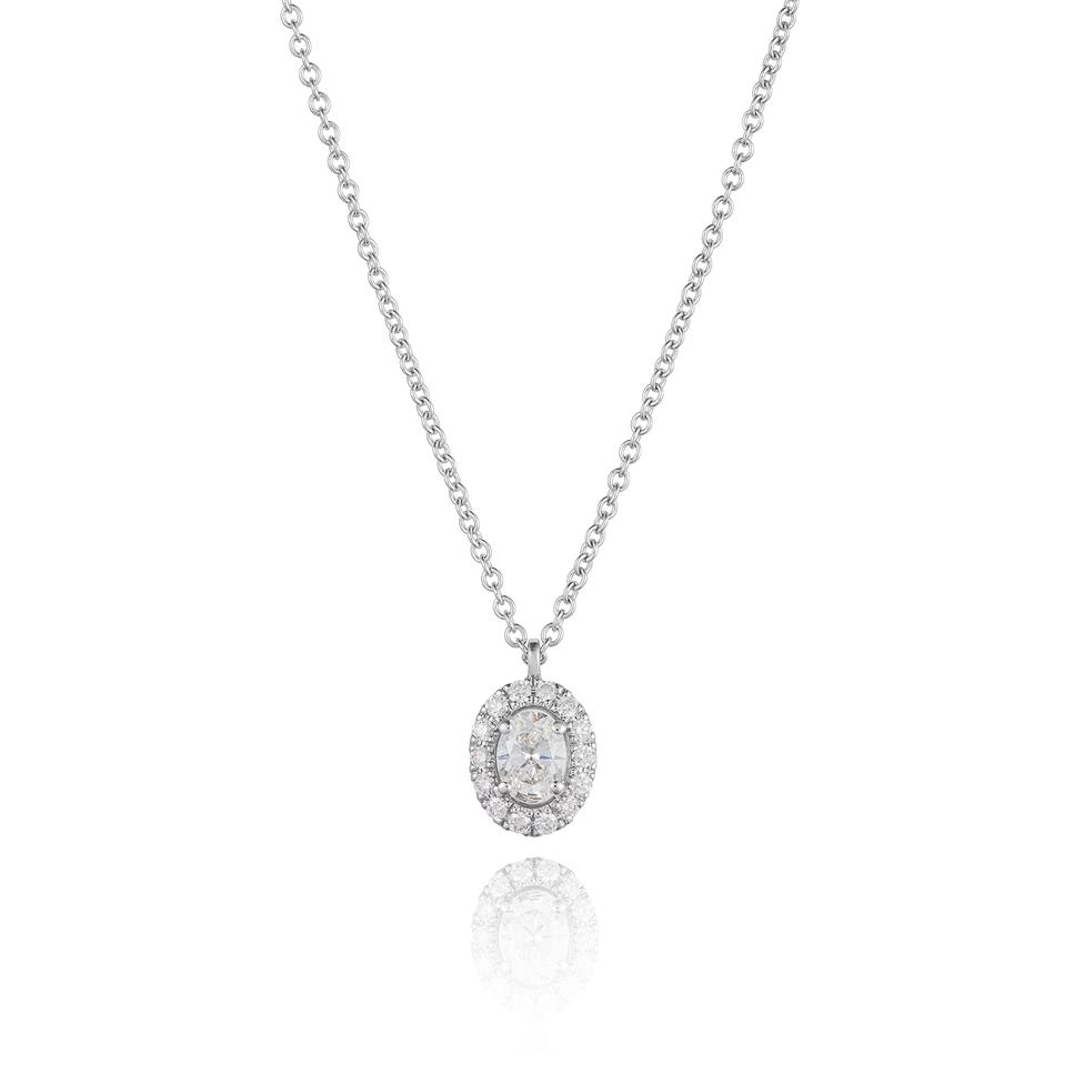 18ct White Gold Oval Diamond Halo Necklace 0.44ct Thumbnail Image 0