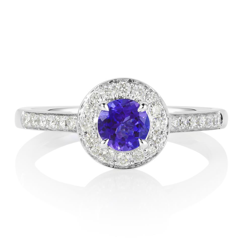 18ct White Gold Tanzanite and Diamond Halo Dress Ring Thumbnail Image 1