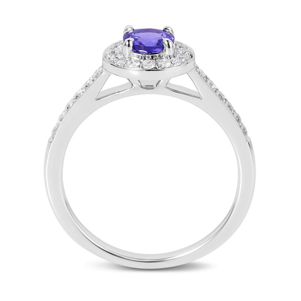 18ct White Gold Tanzanite and Diamond Halo Dress Ring Thumbnail Image 2