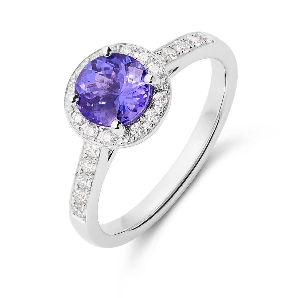 18ct White Gold Tanzanite and Diamond Halo Dress Ring Thumbnail Image 0