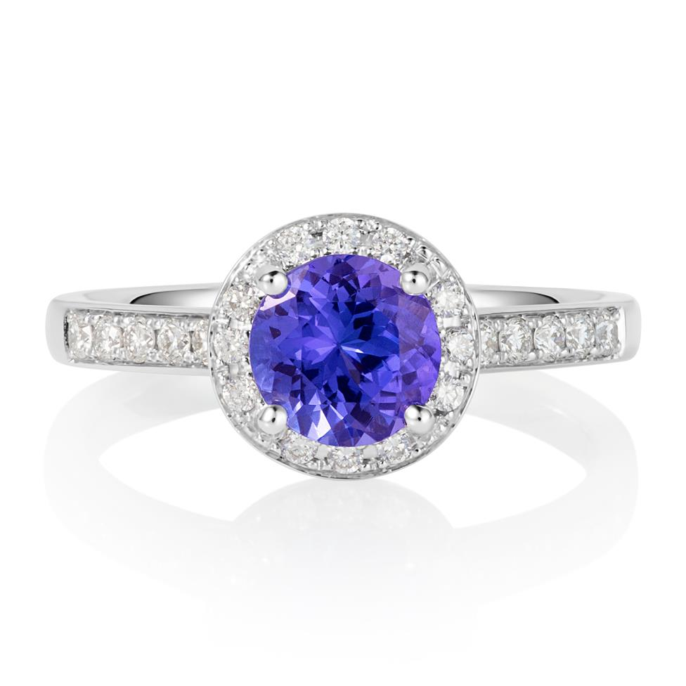 18ct White Gold Tanzanite and Diamond Halo Dress Ring Thumbnail Image 1