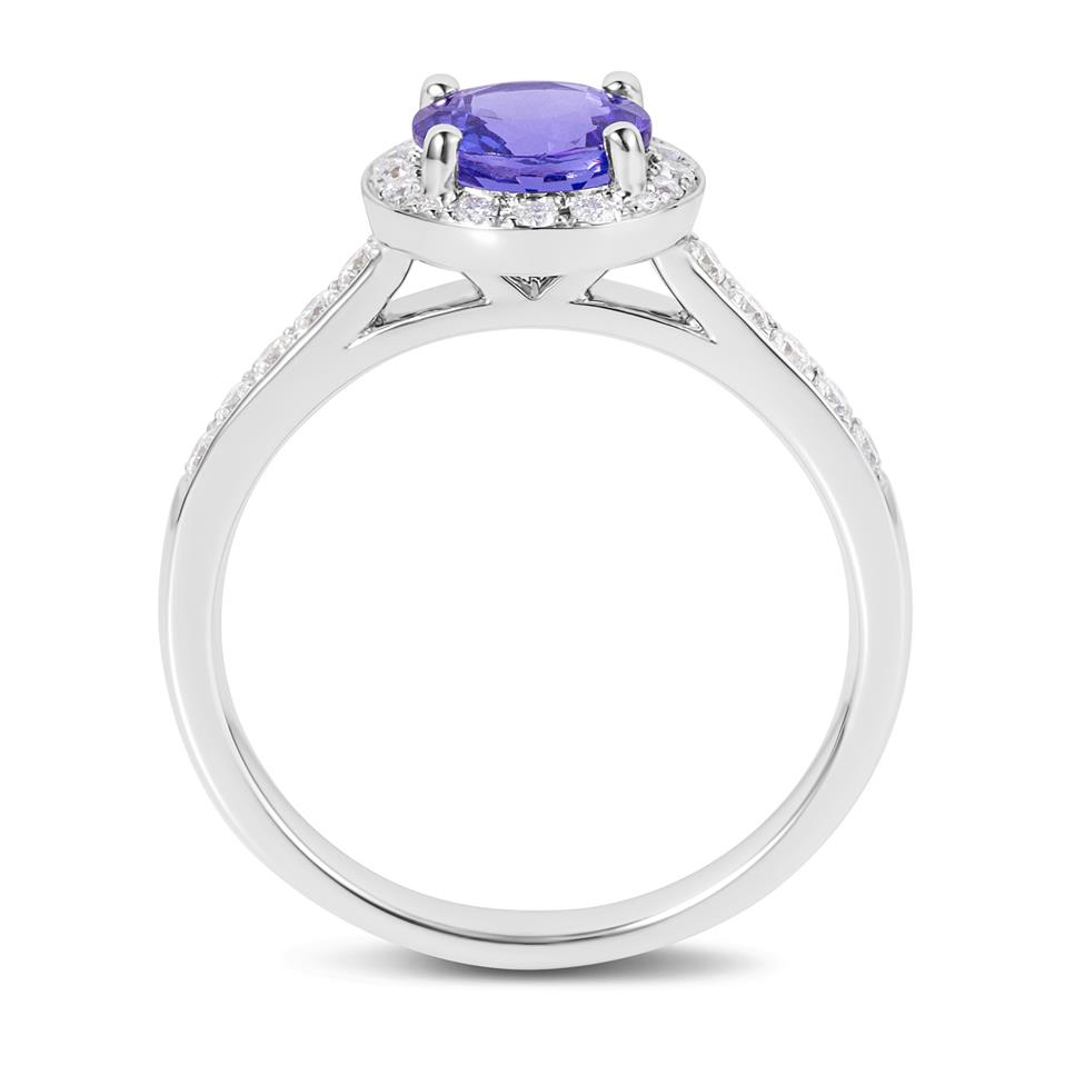 18ct White Gold Tanzanite and Diamond Halo Dress Ring Thumbnail Image 2