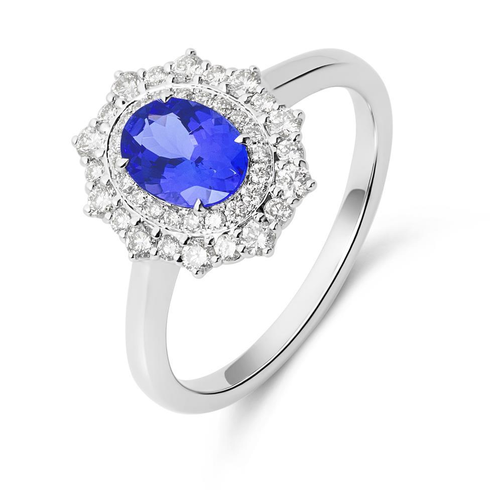 18ct White Gold Tanzanite and Diamond Double Halo Dress Ring Thumbnail Image 0