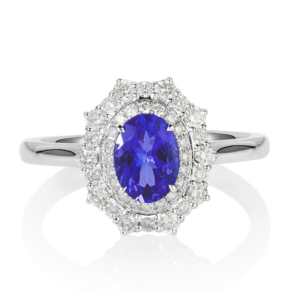18ct White Gold Tanzanite and Diamond Double Halo Dress Ring Thumbnail Image 1