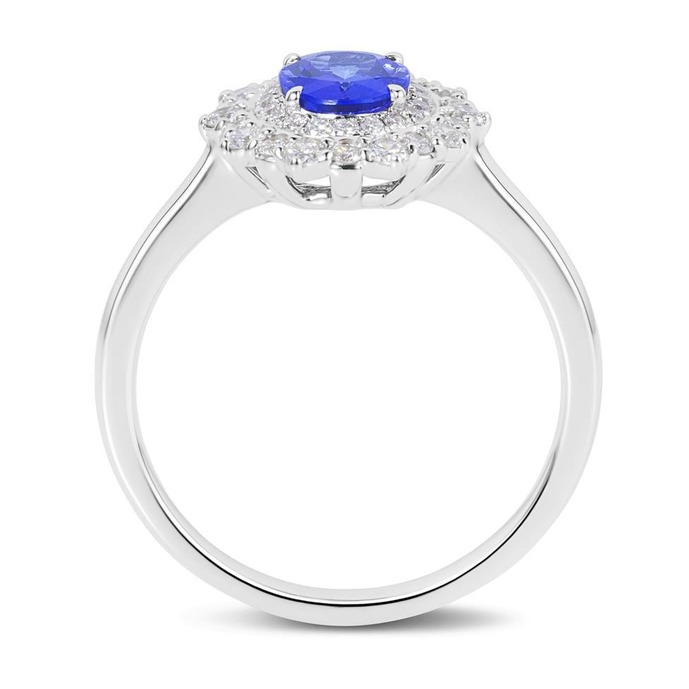 18ct White Gold Tanzanite and Diamond Double Halo Dress Ring Thumbnail Image 2