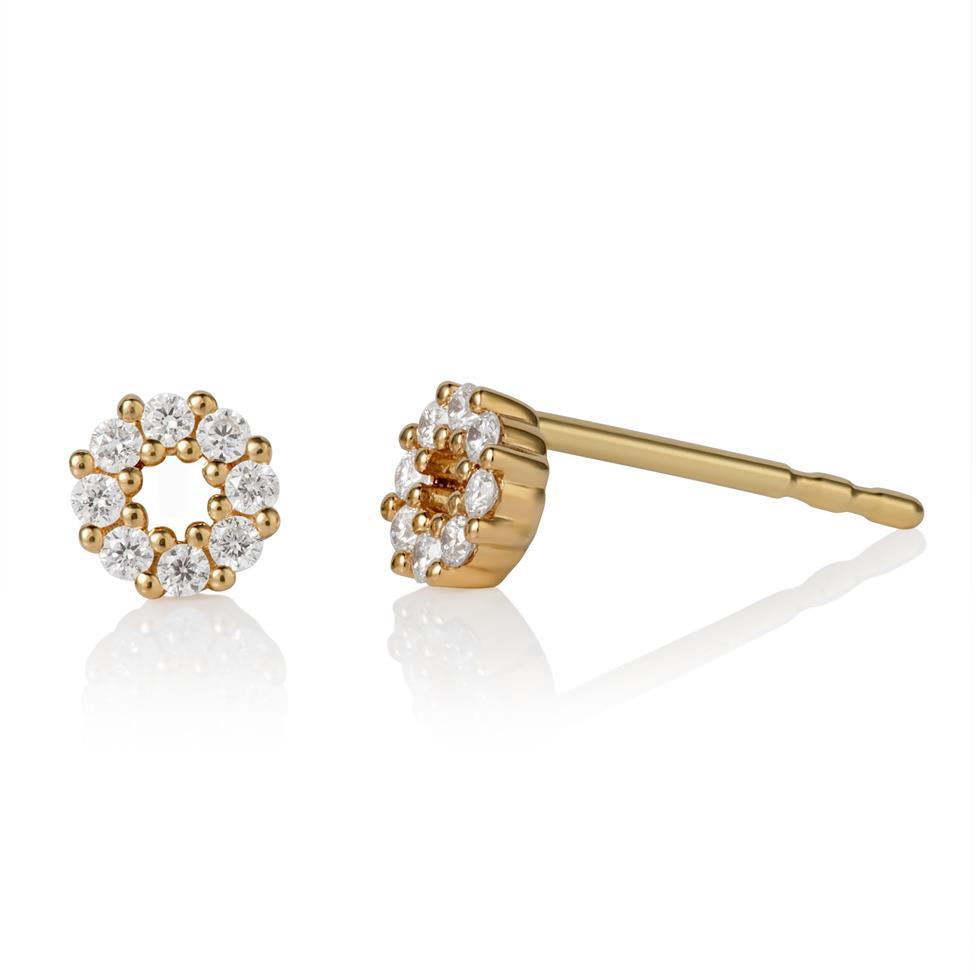 18ct Yellow Gold Circle Design Diamond Stud Earrings Thumbnail Image 0
