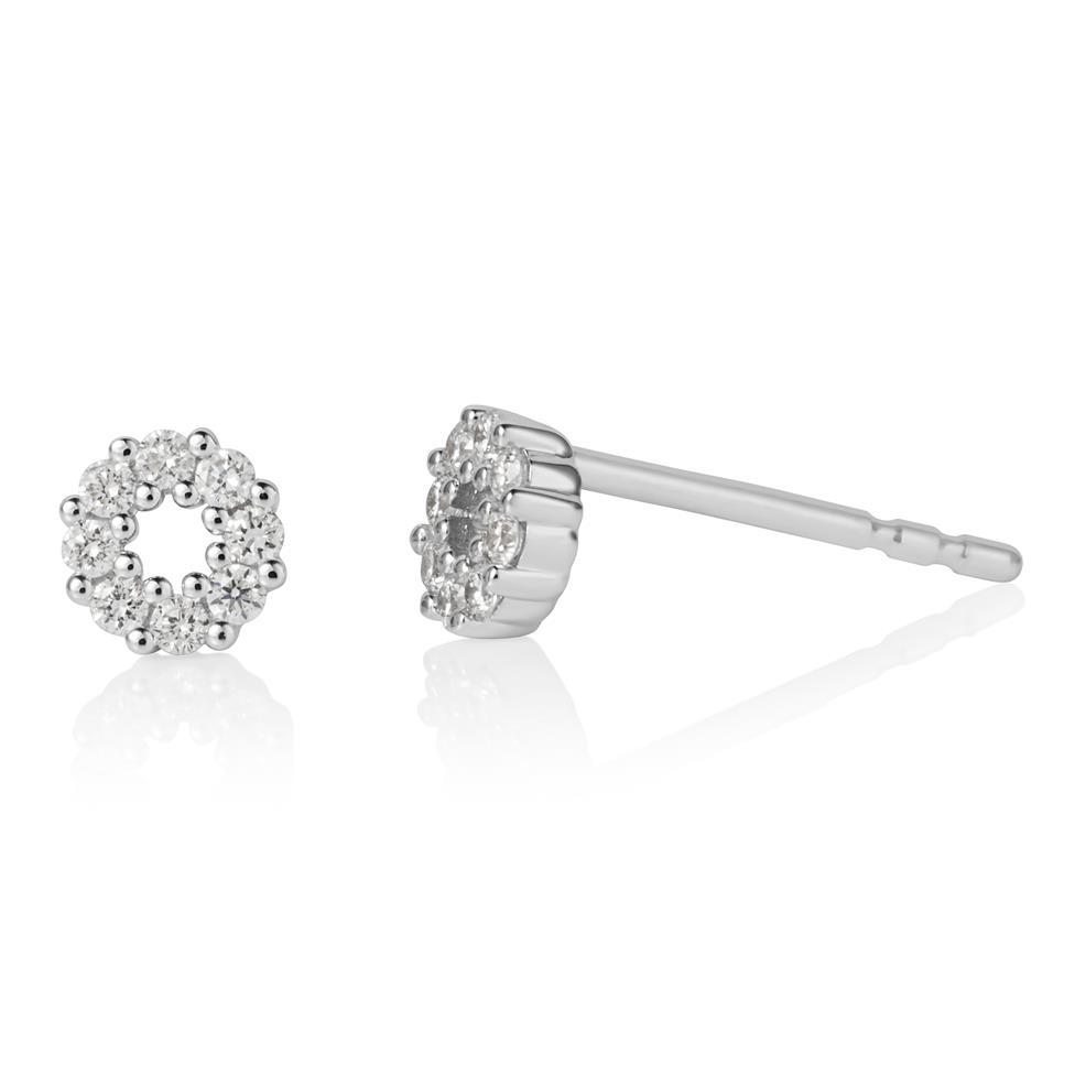 18ct White Gold Circle Design Diamond Stud Earrings 0.16ct Thumbnail Image 0