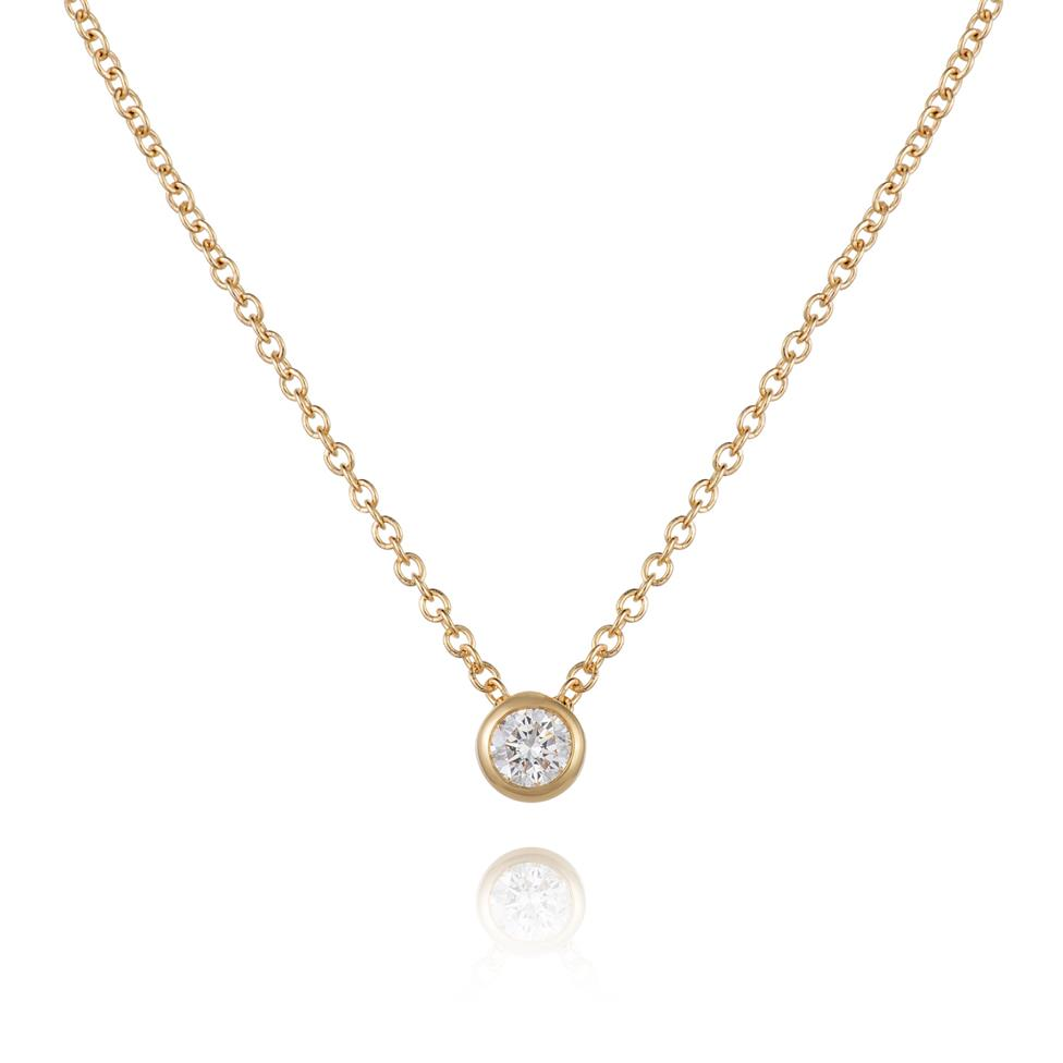18ct Yellow Gold 0.15ct Diamond Solitaire Necklace Thumbnail Image 0