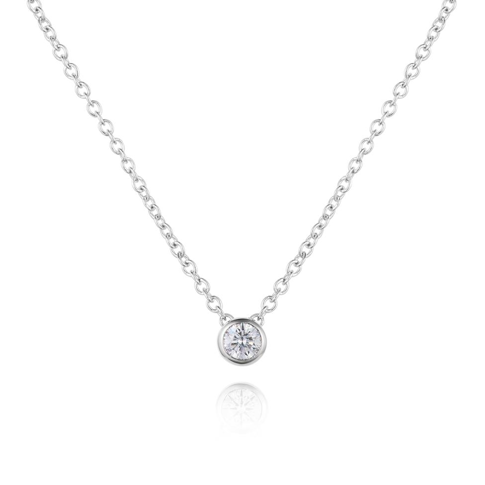 18ct White Gold Diamond Solitaire Necklace 0.10ct Thumbnail Image 0