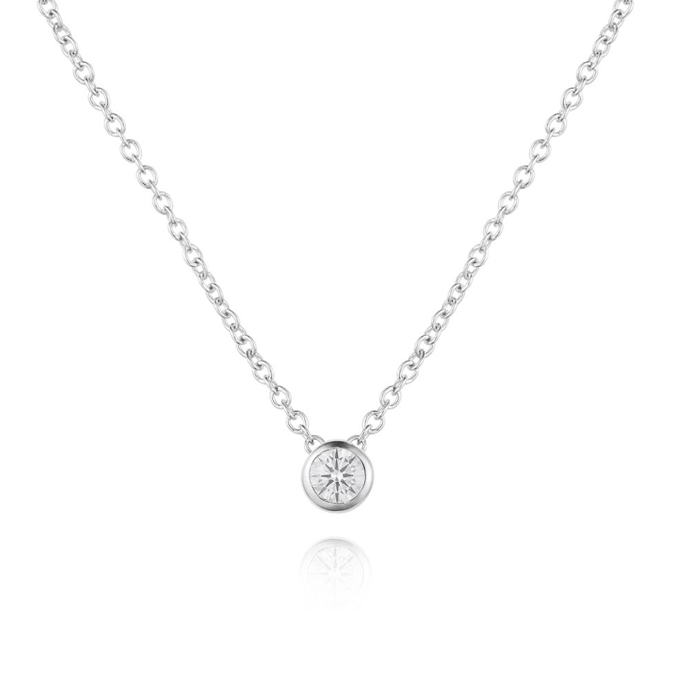 18ct White Gold Diamond Solitaire Necklace 0.15ct Thumbnail Image 0