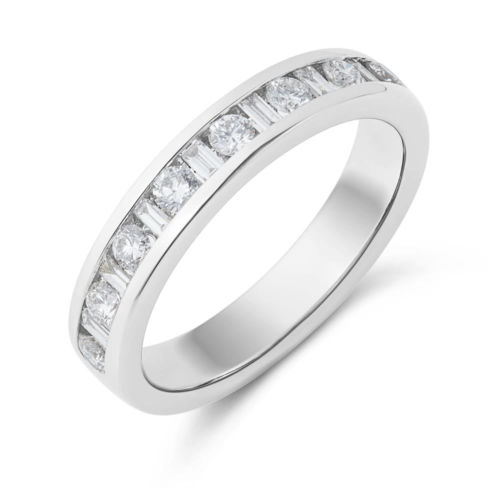 Platinum Alternating Baguette Cut Diamond Half Eternity Ring 0.50ct Thumbnail Image 0
