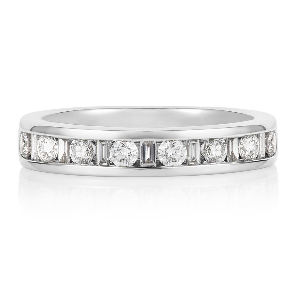 Platinum Alternating Baguette Cut Diamond Half Eternity Ring 0.50ct Thumbnail Image 2